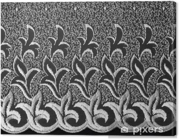 Tableau sur toile Dentelle blanche fleuri sur fond noir - Textures