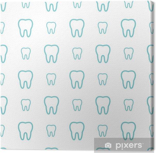 Tableau sur toile Dents sur fond blanc. Vector seamless dentaire modèle. - Ressources graphiques