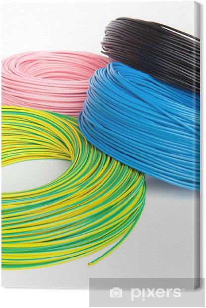Tableau sur toile Des câbles électriques dans la bobine - Internet et réseaux