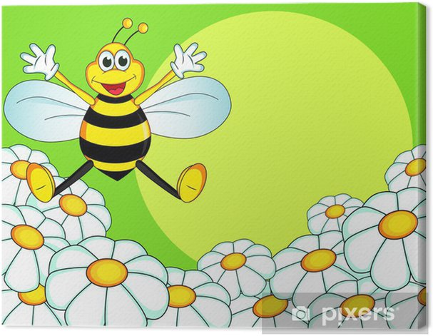 Tableau sur toile Dessin animé abeille - Autres Autres