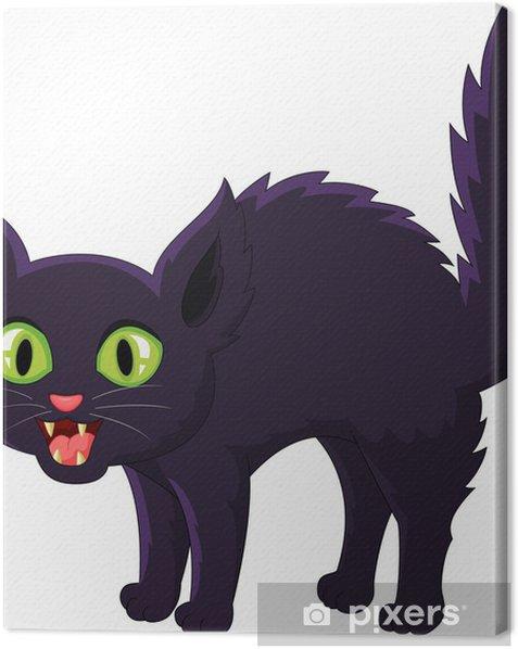 Tableau sur toile Dessin animé Effrayé chat noir - Mammifères