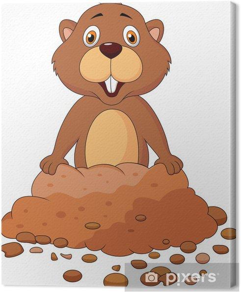 Tableau sur toile Dessin animé marmotte mignon - Mammifères