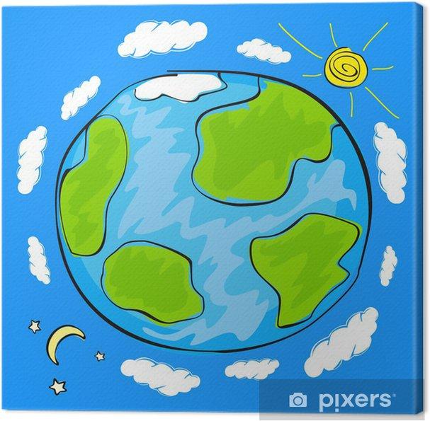Tableau Sur Toile Dessin D Enfant De La Planète Terre