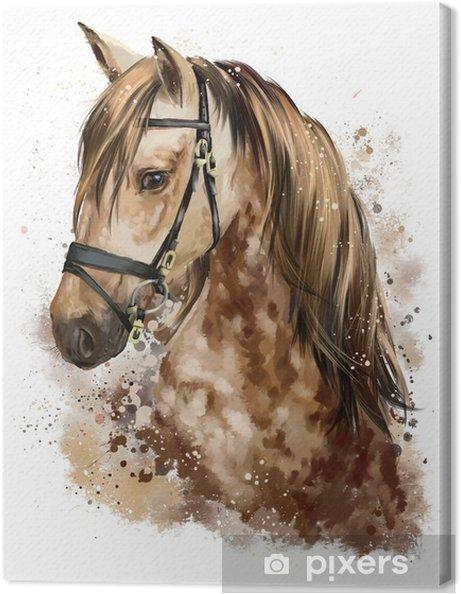 Tableau sur toile dessin de t te de cheval pixers - Dessin tete de cheval ...