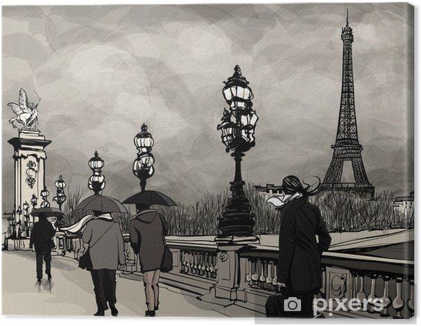 Tableau sur toile Dessin du pont Alexandre III à Paris montrant la Tour Eiffel - Thèmes