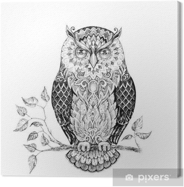 Tableau sur toile Dessin hibou avec de beaux motifs - Animaux