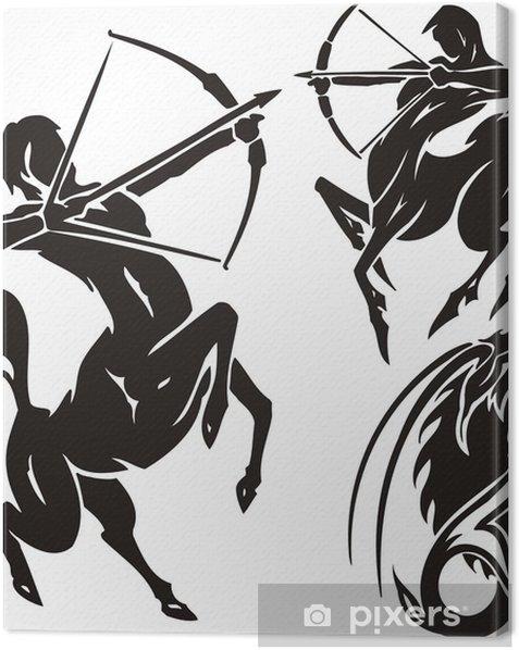 Tableau sur toile Deux centaures et chèvre de montagne. Cliparts tribal. - Destin