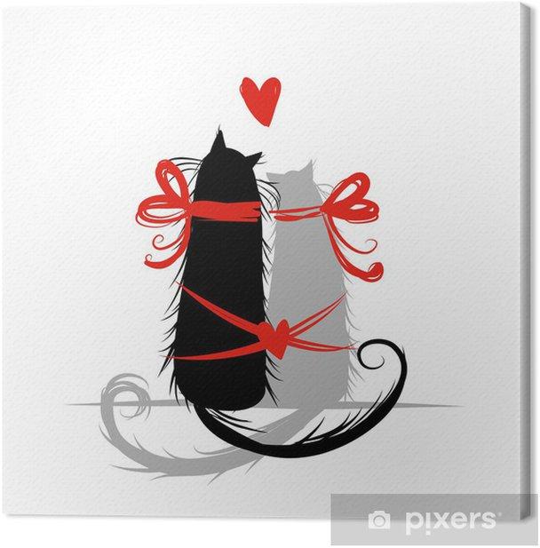 Tableau sur toile Deux chats dans l'amour. Illustration pour votre conception - Fêtes internationales