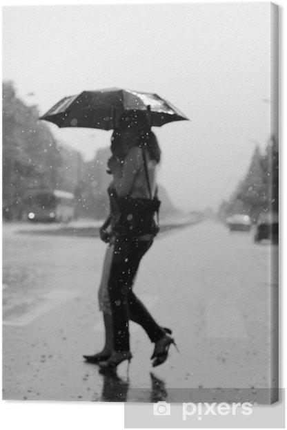 Tableau sur toile Deux femmes marchant sous la pluie - Eau