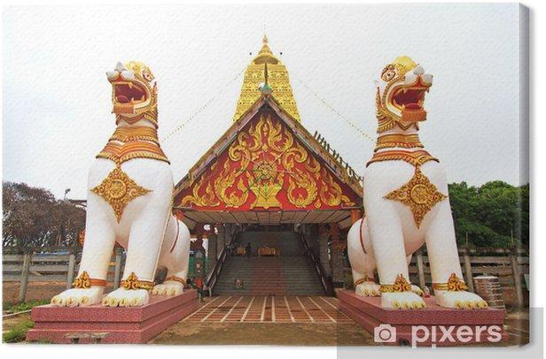 Tableau sur toile Deux statues de lion en garde temple thaïlandais, Sangklaburi, Kanchanaburi - Monuments