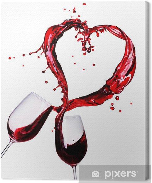 Tableau sur toile Deux verres de vin rouge de coeur Splash Résumé - Sticker mural