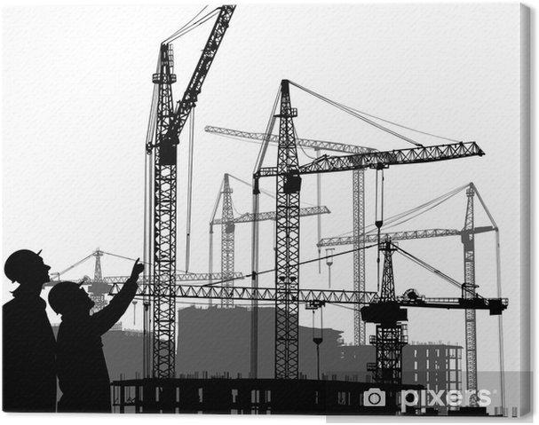 Tableau sur toile Deux wokers sur la zone de construction - Industrie lourde