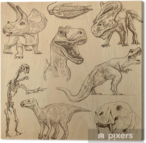 Tableau sur toile Dinosaures n ° 3 - une main des illustrations tirées, vecteur ensemble - Autres Autres