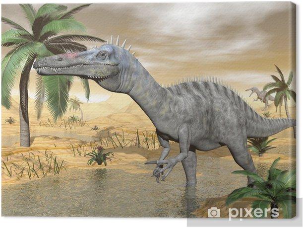 Tableau sur toile Dinosaures Suchomimus dans le désert - 3d render - Thèmes