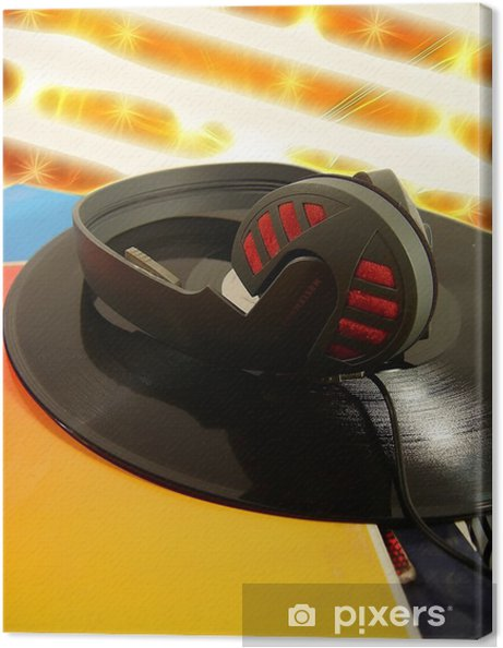 Tableau sur toile Disque et des écouteurs sur fond abstrait - Musique