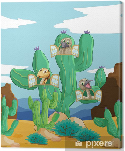 Tableau sur toile Divers animaux et de cactus - Ciel