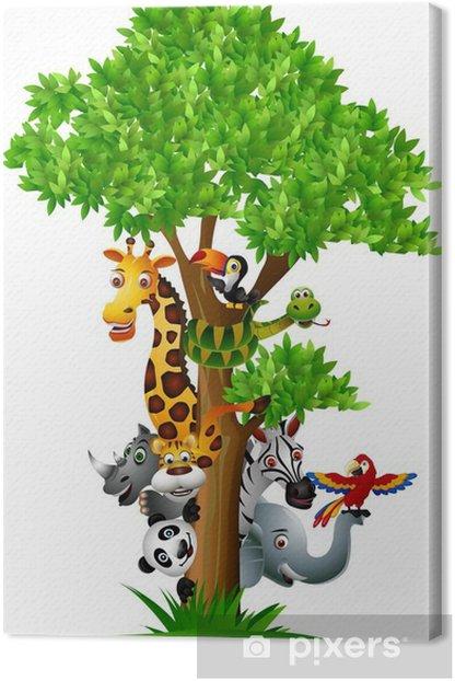 Tableau sur toile Divers dessin animé de safari drôles d'animaux pour se cacher derrière un arbre - Sticker mural