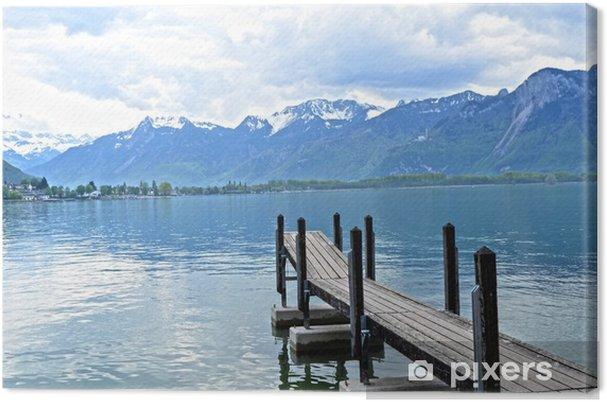 Tableau sur toile Dock en bois dans le lac de Genève, Suisse - Europe