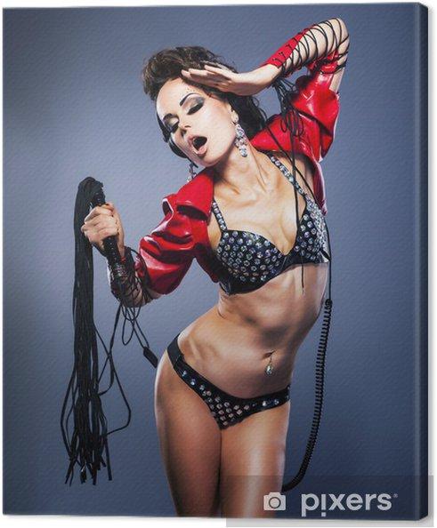 Tableau sur toile Domination. Fétiche. Femme bizarre avec des cils fétiche - la tentation - Sous-vêtements