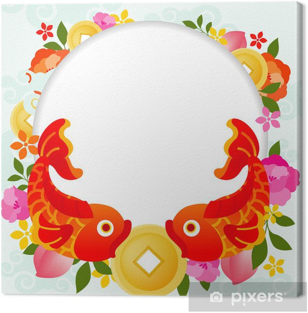 Tableau sur toile Double poisson / fond de style oriental - Fêtes internationales