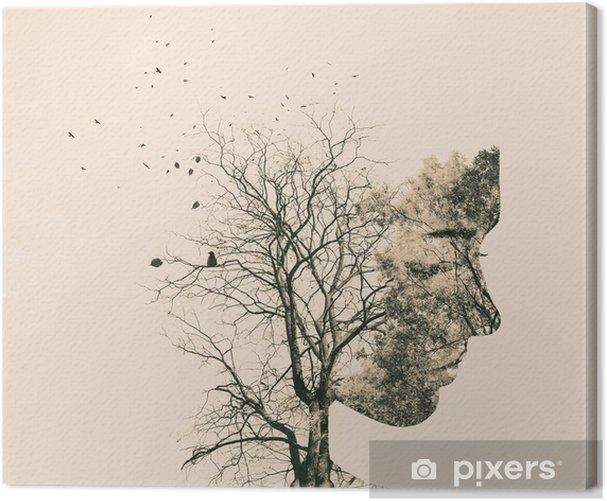 Tableau sur toile Double portrait d'exposition des jeunes femme et arbres de l'automne. - Personnes