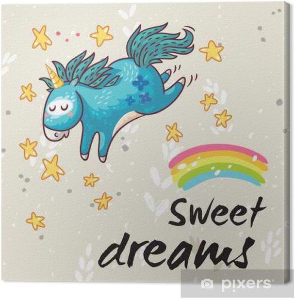 Tableau sur toile Douce carte rêves avec licorne mignon. Vector cartoon illustration - Passe-temps et loisirs