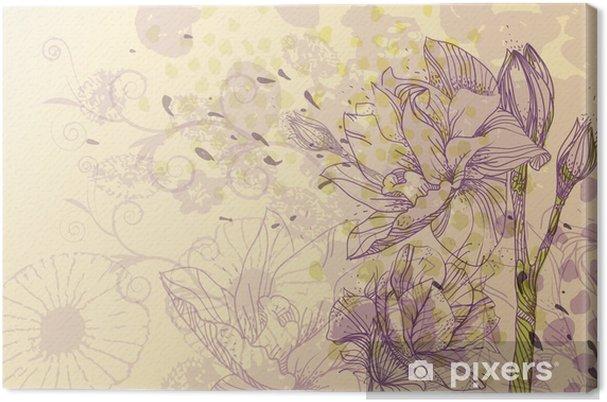 Tableau sur toile Doux vecteur d'information avec la floraison des fleurs - Saisons