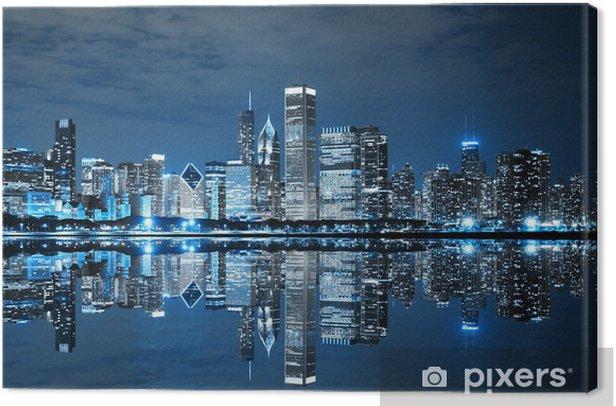 Tableau sur toile Downtown Chicago la nuit - Thèmes