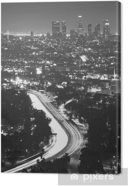 Tableau sur toile Downtown Los Angeles la nuit - Thèmes