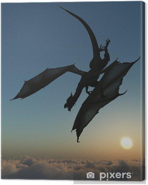Tableau sur toile Dragon silhouette - Thèmes
