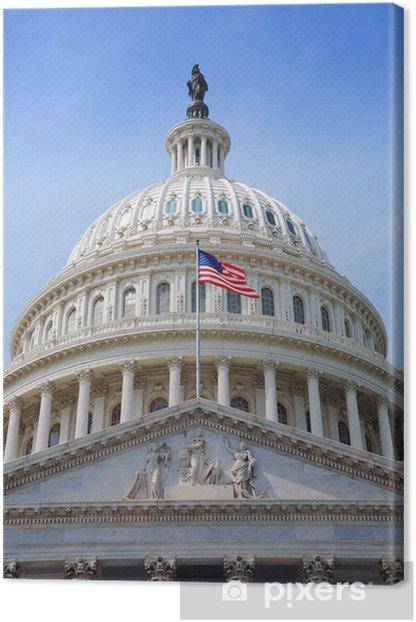 Tableau sur toile Drapeau États-Unis et Capitol Hill, Washington DC - Villes américaines