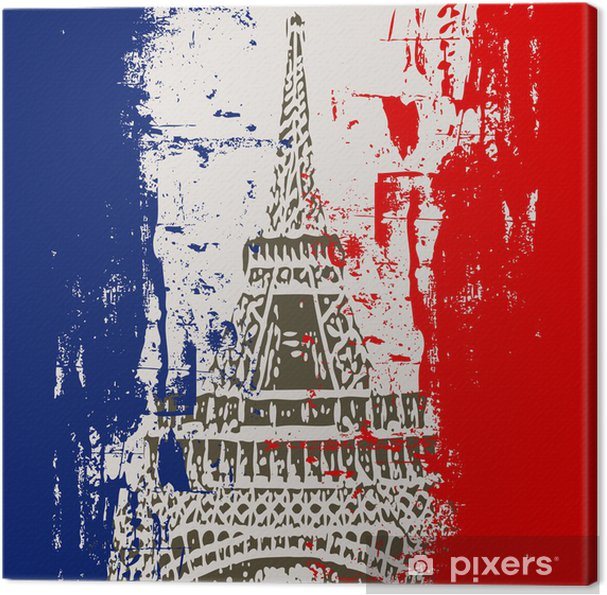 Tableau sur toile Drapeau français avec la Tour Eiffel Illustration -