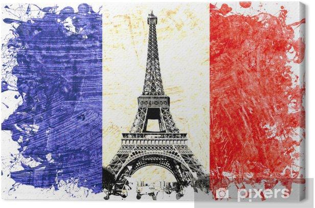 Tableau sur toile Drapeau France paris tour eiffel - Sticker mural