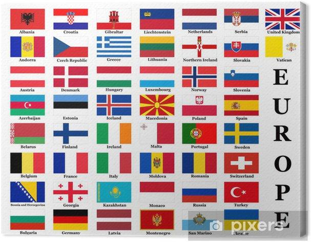Tableau sur toile Drapeaux de pays européens - Asie