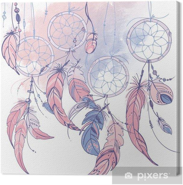 Tableau sur toile Dreamcatcher, ensemble d'ornements, de plumes et de perles. capteur de rêves indien amérindien, symbole traditionnel. plumes et perles sur fond blanc. Couleur rose quartz, sérénité. - Culture et religion