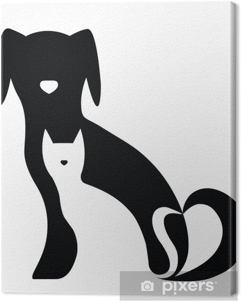 Tableau sur toile Drôle de chien et de la composition des silhouettes de chat - Sticker mural
