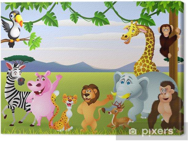 Tableau sur toile Drôle de safari animal cartoon - Pour enfant de 5 ans