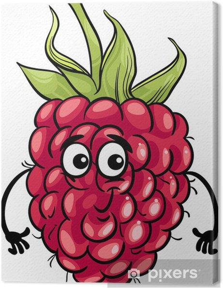 Tableau sur toile Drôle framboise illustration de bande dessinée de fruits - Framboises