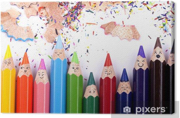 Tableau sur toile Drôles de crayons de couleurs - Art et création