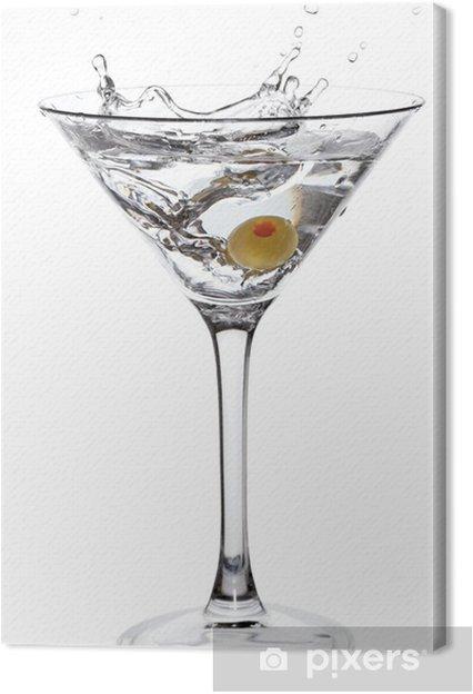 Tableau sur toile Éclabousser Martini avec olive isolé sur blanc - Amérique