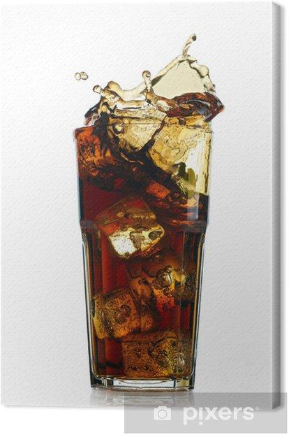 Tableau sur toile Éclaboussures cola en verre. Isolé sur fond blanc - Repas