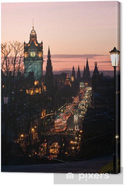 Tableau sur toile Edimbourg avec Tour de l'Horloge de Calton Hill au crépuscule Scotland UK - Thèmes