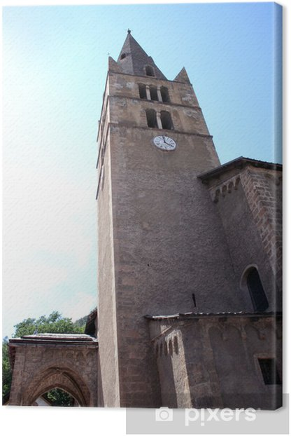 Tableau sur toile Église de Vallouise, village des écrins - Vacances