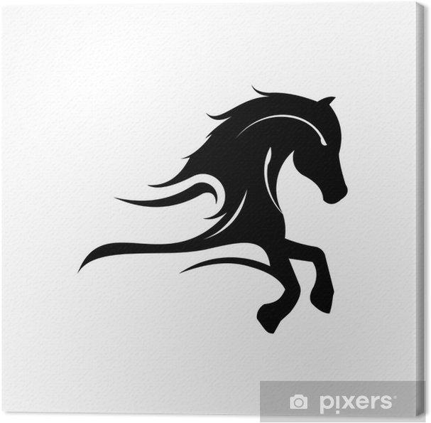 Tableau sur toile Elégant Logo Horse Run Silhouette