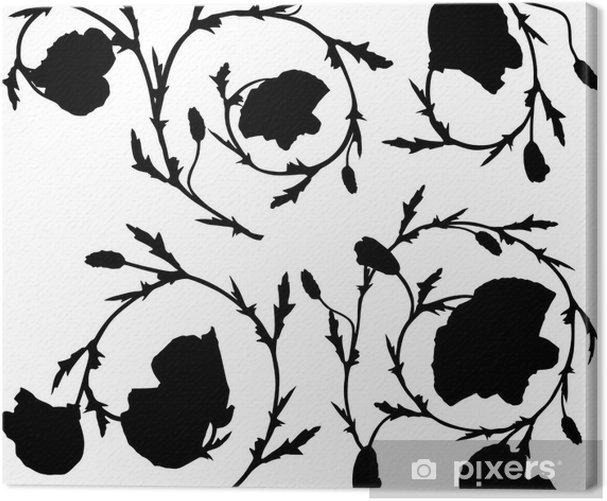 Tableau sur toile Éléments d'ornement noir à grandes fleurs - Fleurs