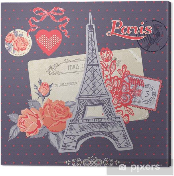 Tableau sur toile Éléments de conception Scrapbook - Paris carte vintage avec des timbres - Villes européennes
