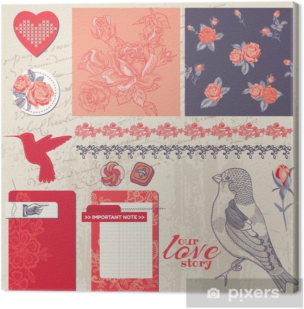 Tableau sur toile Éléments de conception Scrapbook - Vintage Roses et oiseaux - dans le vecteur - Arrière plans