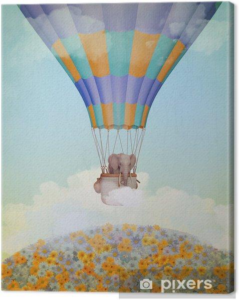 Tableau sur toile Éléphant dans le ballon. Illustration - Bonheur