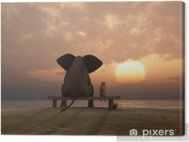 Tableau sur toile Éléphant et chien de s'asseoir sur une plage en été - Destin