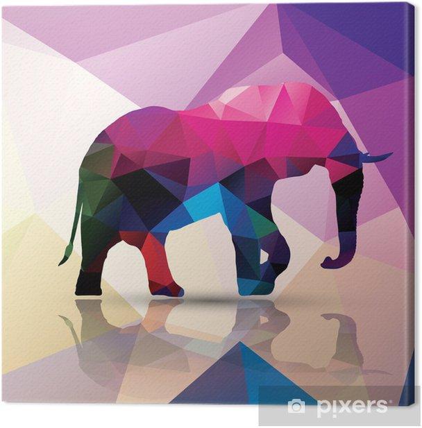 Tableau sur toile Éléphant polygonale géométrique, conception de modèle, vecteur - Thèmes